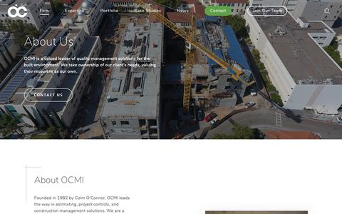 Screenshot of About Page ocmi.com - About Us | O'Connor Construction Management, Inc - captured Oct. 2, 2018