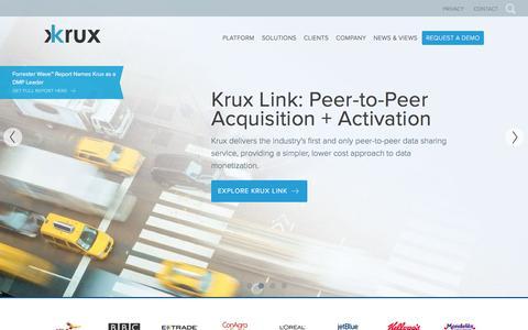 Screenshot of Home Page krux.com - Krux DMP: The Intelligent Marketing Hub | Krux - captured Sept. 9, 2016