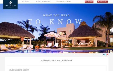 Screenshot of FAQ Page exclusiveresorts.com - Member Testimonials | Luxury Travel Reviews | Exclusive Resorts - captured Sept. 19, 2014