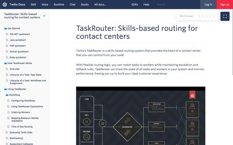 Screenshot of Developers Page twilio.com - TaskRouter: Skills-based routing for contact centers - Twilio - captured Nov. 28, 2019