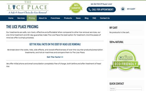 Screenshot of Pricing Page theliceplace.com - The Lice Place - Pricing - captured Sept. 7, 2019
