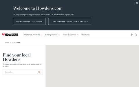 Screenshot of Locations Page howdens.com - Find a Depot | Howdens - captured May 15, 2019