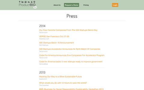 Screenshot of Press Page productbio.com - Press - captured Nov. 2, 2014