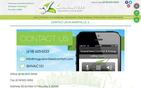 Screenshot of Contact Page guaranteedcomfortandenergy.com - AC Experts - Maryville, IL - Guaranteed Comfort - captured July 14, 2018