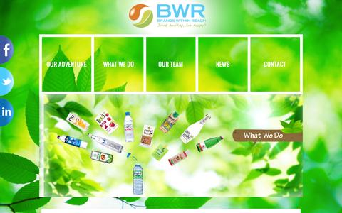 Screenshot of Home Page bwrgroup.com - BWR - Brands Within Reach, Drink healthy, live happy - captured Oct. 5, 2014