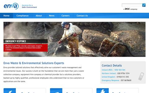 Screenshot of Home Page enva.com - Waste Management - Wastewater Treatment - Waste Disposal - Enva Ireland - captured Sept. 30, 2014