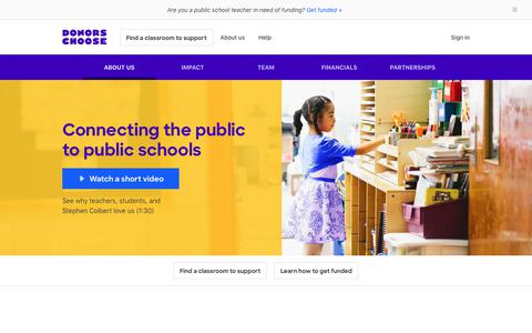 Screenshot of About Page donorschoose.org - About us | DonorsChoose - captured Jan. 9, 2020