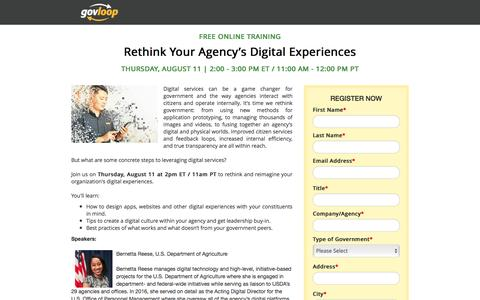 Screenshot of Landing Page govloop.com - Rethink Your Agency's Digital Experiences | GovLoop Online Training - captured Oct. 30, 2016