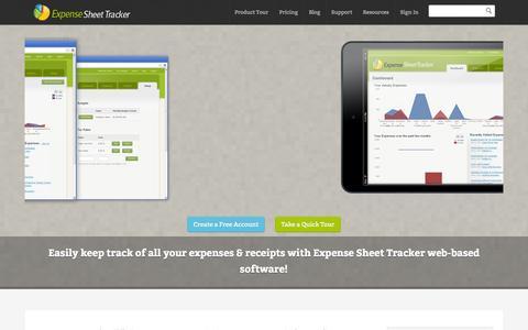 Screenshot of Home Page expensesheettracker.com - Expense Claim Report & Budgeting Software - captured Sept. 30, 2014