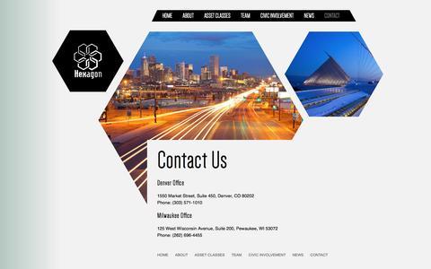 Screenshot of Contact Page hexagoninc.com - Hexagon | Contact | Denver | Milwaukee - captured Feb. 2, 2017