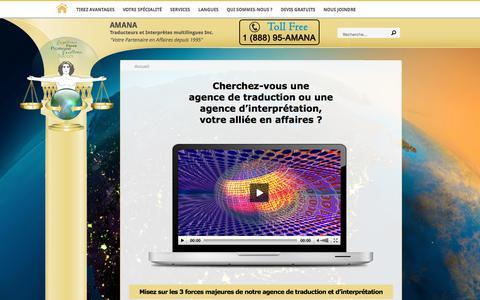 Screenshot of Home Page amana-inc.com - Agence de traduction | Bureau de traduction | Cabinet de traduction - captured July 9, 2018