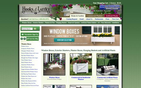 Screenshot of Home Page hooksandlattice.com - Window Boxes, Flower Boxes, Planters | 100+ Window Box Designs! - captured Sept. 22, 2014