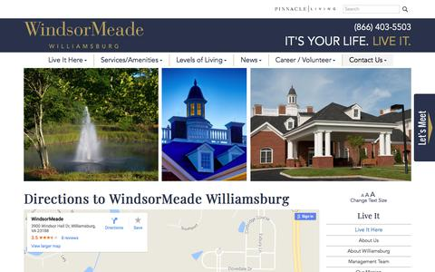 Screenshot of Maps & Directions Page windsormeade.org - Directions to WindsorMeade - captured Nov. 16, 2017