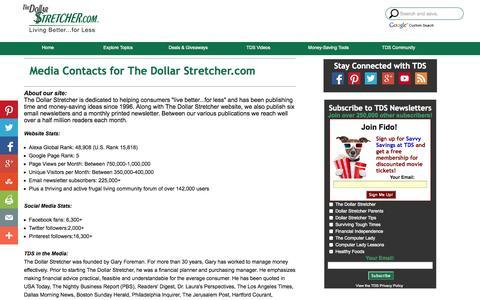 Screenshot of Press Page stretcher.com - The Dollar Stretcher - Media Contact - captured Nov. 1, 2014