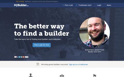 Screenshot of Home Page mybuilder.com - MyBuilder.com - Find trusted builders and tradesmen - captured July 11, 2014