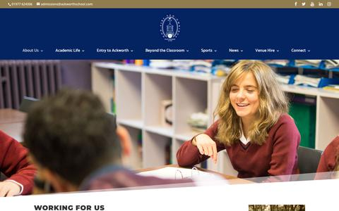 Screenshot of Jobs Page ackworthschool.com - Working for Ackworth School | Ackworth School - captured June 29, 2018