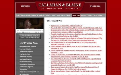 Screenshot of Press Page callahan-law.com - In The News | Callahan & Blaine | Santa Ana California - captured Oct. 1, 2014