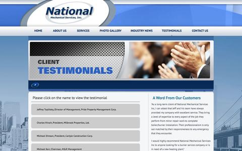 Screenshot of Testimonials Page national-mechanical.com - NYC Boiler Emergency Service, NYC Boiler Repair, Mobile Boiler Rental NYC, Oil & Gas Burner Services | National Mechanical Services, Inc. - captured Feb. 16, 2016