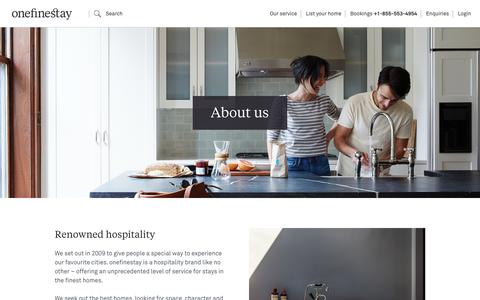 Screenshot of About Page onefinestay.com - About us | onefinestay - captured Feb. 24, 2018