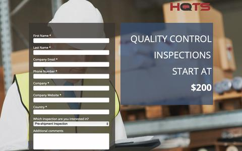 Screenshot of Landing Page hqts.com - Quality-Control-Inspections - captured Sept. 30, 2018
