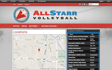 Screenshot of Maps & Directions Page allstarrvolleyball.com - AllStarr Volleyball » Locations & Directions - captured Sept. 30, 2014