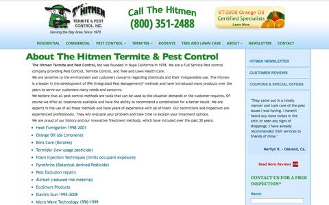 Screenshot of About Page hitmenpest.com - About The Hitmen Termite & Pest Control, Bay Area Orange Oil Experts - captured Sept. 23, 2014
