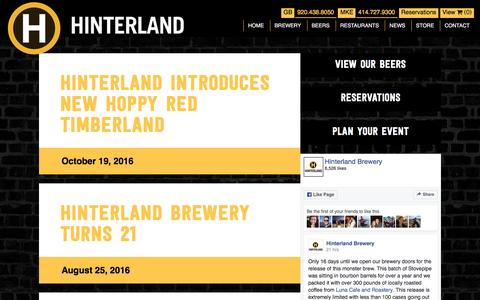 Screenshot of Press Page hinterlandbeer.com - News - Hinterland - captured Nov. 10, 2016