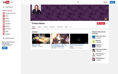 Screenshot of YouTube Page youtube.com - Cristina Mazilu  - YouTube - captured Nov. 4, 2014