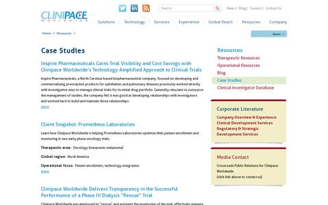 Screenshot of Case Studies Page clinipace.com - Case Studies - captured July 19, 2014