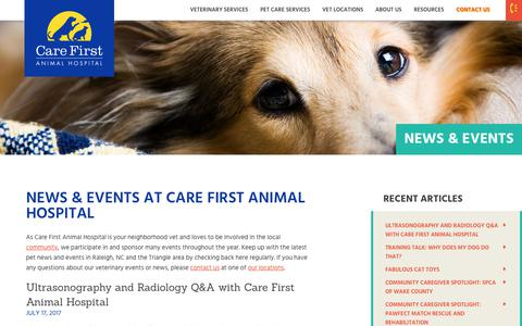 Screenshot of Blog carefirstanimalhospital.com - News & Events | Care First Animal Hospital - captured Aug. 5, 2018