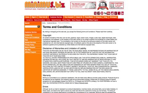 Screenshot of Terms Page minimus.biz - Terms and Conditions - for all your travel size needs - captured Sept. 24, 2014
