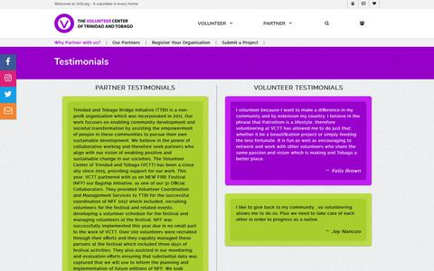 Screenshot of Testimonials Page vctt.org - The Volunteer Center of Trinidad and Tobago   A Volunteer in Every Home - captured Oct. 18, 2018