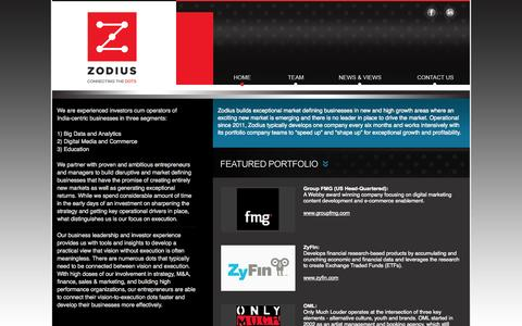 "Screenshot of Home Page zodius.com - Zodius | Business builders focused on the ""new"" digital trends - captured Oct. 7, 2014"