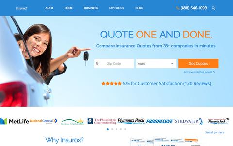 Screenshot of Home Page insurox.com - Compare Car Insurance Quotes from Top Companies | Insurox® - captured Sept. 29, 2017