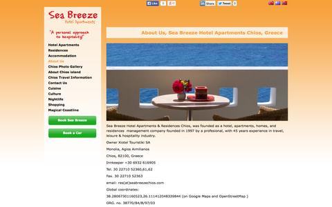 Screenshot of About Page seabreezechios.com - About Us, Sea Breeze Hotel Apartments, Chios, Greece   seabreezechios.com - captured Oct. 26, 2014