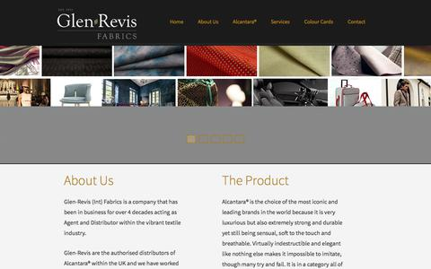 Screenshot of Home Page glenrevis.com - Luxury Vegan Fabrics & Materials – Leather & Suede | Glen Revis - captured July 18, 2018