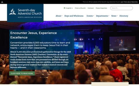 Screenshot of Home Page nadadventist.org - Home | North American Division of Seventh-day Adventists - captured Nov. 15, 2018