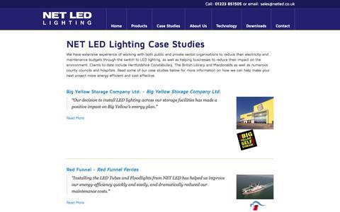 Screenshot of Case Studies Page netledlighting.co.uk - LED Lighting Case Study | Public and Private Sector Studies | NET LED Lighting - captured Sept. 30, 2014