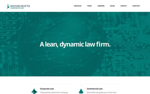 Screenshot of Home Page moorcrofts.com - Moorcrofts | A lean, dynamic law firm. | Moorcrofts - captured Sept. 24, 2018