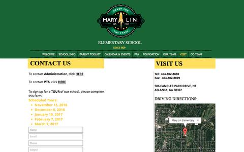 Screenshot of Contact Page Maps & Directions Page marylinelementary.com - mary-lin | VISIT - captured Nov. 27, 2016