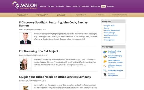 Screenshot of Blog teamavalon.com - eDiscovery, Litigation Support, Printing, Copying, Scanning | Avalon Document Services - captured Feb. 27, 2016