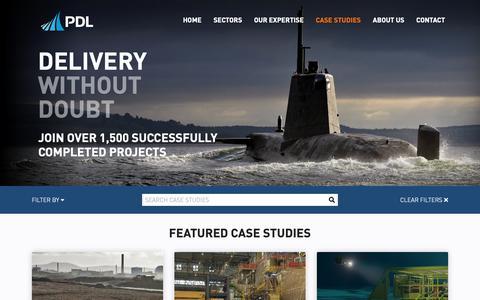 Screenshot of Case Studies Page pdl-group.com - Case Studies | PDL Solutions | Advanced Engineering Analysis - captured Nov. 4, 2018