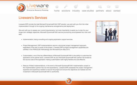 Screenshot of Services Page liveware.com.au - Liveware's Services - captured Nov. 11, 2016