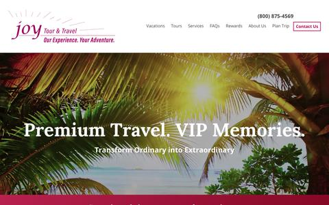 Screenshot of Home Page joytours.com - Home - Joy Tours & Travel - captured Nov. 12, 2018