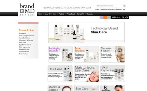 Screenshot of Products Page brandmdskincare.com - Products - captured Sept. 30, 2014
