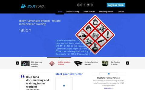 Screenshot of Home Page bluetunadocs.com - FAA Approved Aviation Training - Custom Aerospace Manuals - BlueTuna - captured Sept. 30, 2014