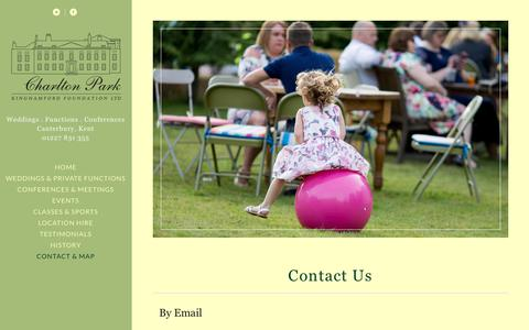 Screenshot of Contact Page charlton-park.org - CONTACT CHARLTON PARK | WEDDING VENUE | CORPORATE VENUE | THEATRE | CANTERBURY | KENT - captured Sept. 27, 2018