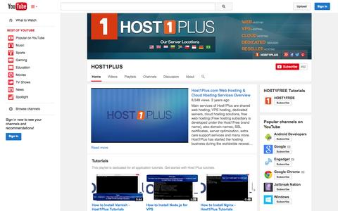 Screenshot of YouTube Page youtube.com - HOST1PLUS  - YouTube - captured Oct. 22, 2014