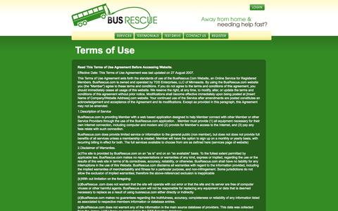 Screenshot of Terms Page busrescue.com - Terms of Use | BusRescue(SM) - captured Sept. 30, 2014