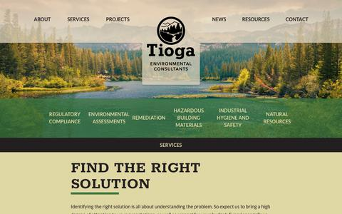 Screenshot of Services Page tiogaenv.com - Services - Tioga Environmental Consultants - captured Oct. 20, 2018